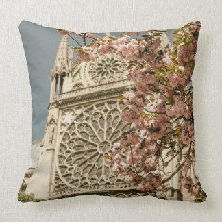 Notre Dame de Paris in Pink Spring Flowers Throw Cushion