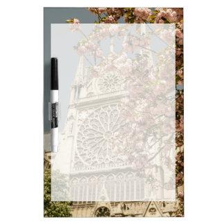 Notre Dame de Paris in Pink Spring Flowers Dry-Erase Whiteboards