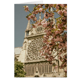 Notre Dame de Paris in Pink Spring Flowers Greeting Card