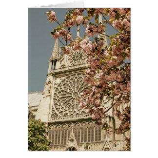 Notre Dame de Paris in Pink Spring Flowers Greeting Card