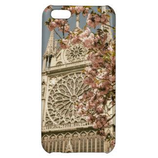 Notre Dame de Paris in Pink Spring Flowers Case For iPhone 5C