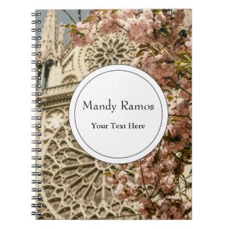 Notre Dame de Paris in Pink Spring Flowers Notebooks