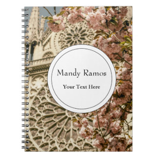 Notre Dame de Paris in Pink Spring Flowers Notebooks