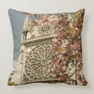 Notre Dame de Paris in Pink Spring Flowers Throw Cushion