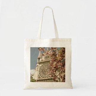 Notre Dame de Paris in Pink Spring Flowers Budget Tote Bag