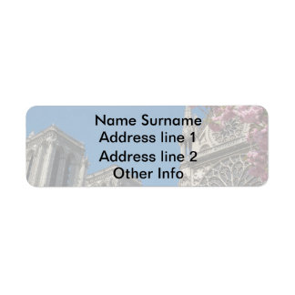 Notre Dame in Paris, France with Spring Flowers Return Address Label