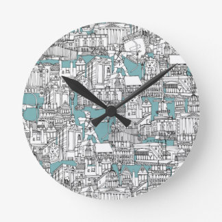 NOTTINGHAM BLUE ROUND CLOCK
