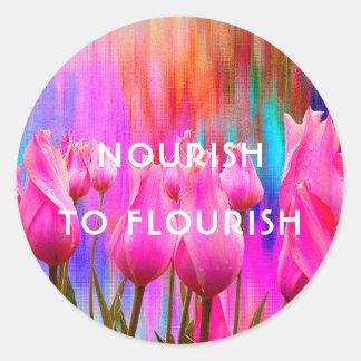 Nourish to Flourish | Pink, colorful tulips Classic Round Sticker