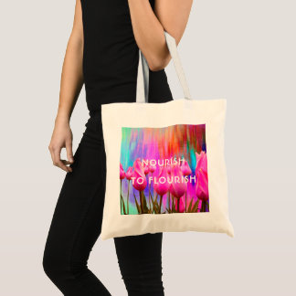Nourish to Flourish | Pink, colorful tulips Tote Bag