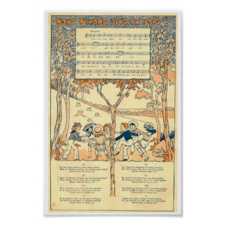 Nous n'irons plus au bois french song music score poster