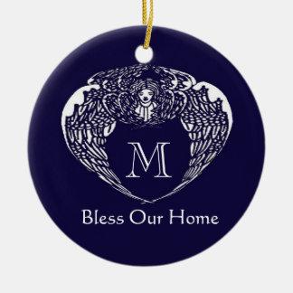Nouveau Angel Bless our Home Monogram Ornament
