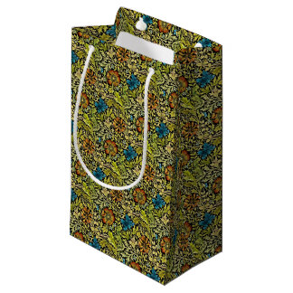 Nouveau Blue and Orange Flowers on Vine Small Gift Bag