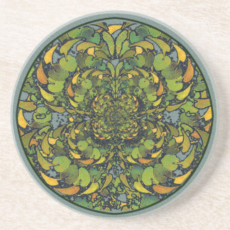 Nouveau Botanical Abstract Round Coaster