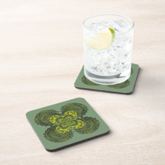 Nouveau Botanical Abstract Square Coaster