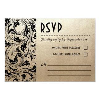Nouveau Dream Wedding RSVP Cards - Gold & Black 9 Cm X 13 Cm Invitation Card