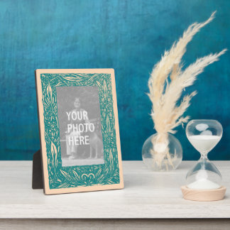 Nouveau Frame Plaque in Teal and Peach
