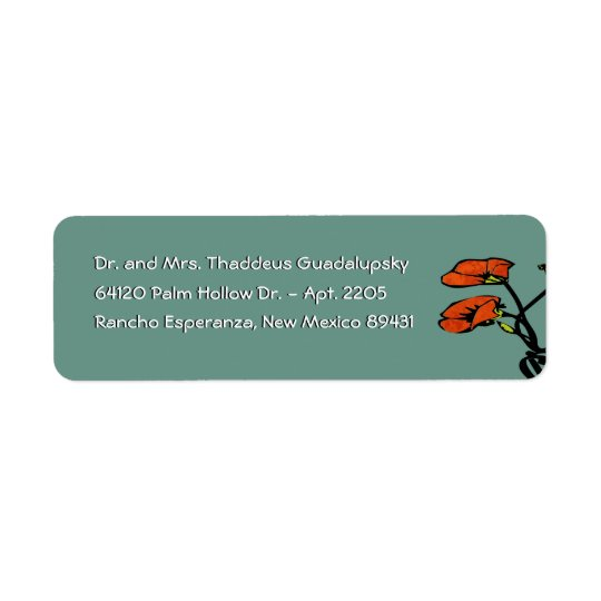 Nouveau Poppies on Patina Green (Return Address) Return Address Label
