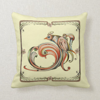 Nouveau Ribbon Bird Decor Pillow
