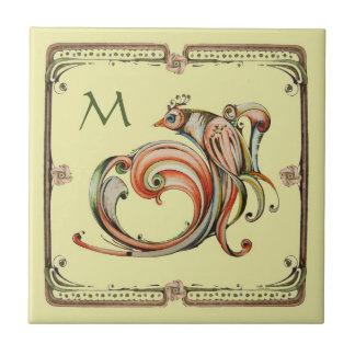 Nouveau Ribbon Bird Monogram Tile