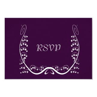 "Nouveau Snowdrops Purple RSVP Card 3.5"" X 5"" Invitation Card"