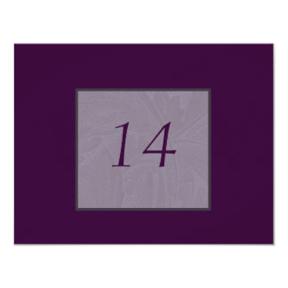 """Nouveau Snowdrops Purple Table Number Cards 4.25"""" X 5.5"""" Invitation Card"""