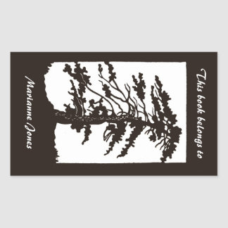 Nouveau Tree Silhouette Bookplate Sticker