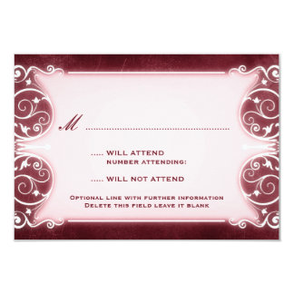 Nouveau Victorian: Burgundy & White RSVP 9 Cm X 13 Cm Invitation Card