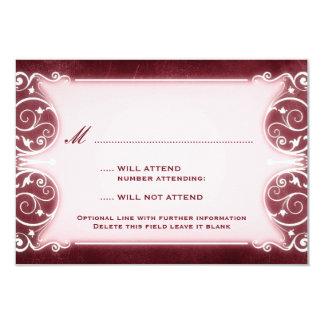 Nouveau Victorian: Burgundy & White RSVP 9 Cm X 13 Cm Invitation Card