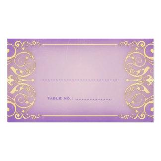 Nouveau Victorian Lilac & Gold Table Escort Card Business Cards