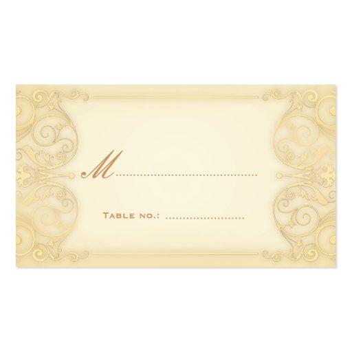 Nouveau Victorian Pale Gold Fancy Table Escort Business Card Template
