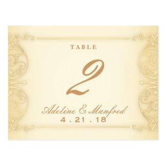 Nouveau Victorian Pale Gold Fancy Table Number Postcard