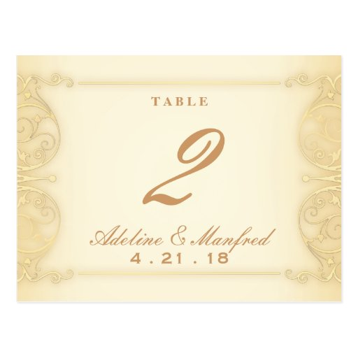 Nouveau Victorian Pale Gold Fancy Table Number Post Card
