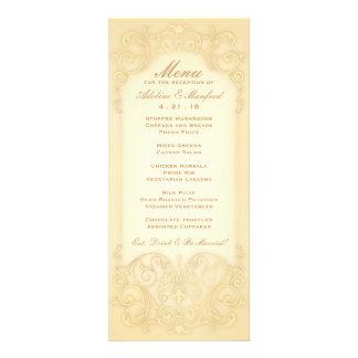 Nouveau Victorian Pale Gold Fancy Wedding Menu Custom Invitation
