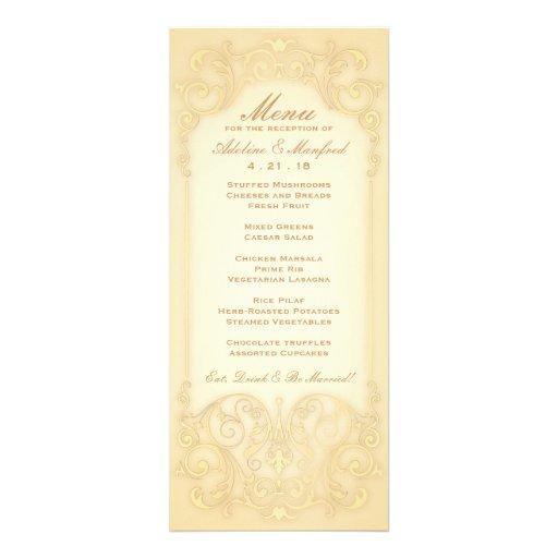 Nouveau Victorian: Pale Gold Fancy Wedding Menu Custom Invitation
