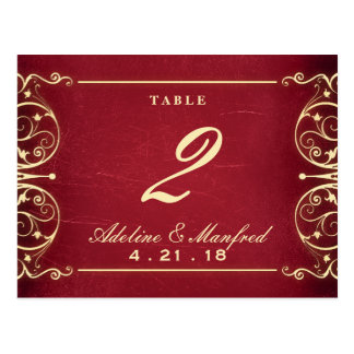 Nouveau Victorian: Red & Gold Table Number Postcard