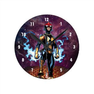 Nova Over Fallen Nova Corps Helmets Wall Clocks