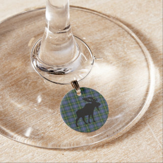 Nova Scotia Tartan Christmas Wine Charms moose