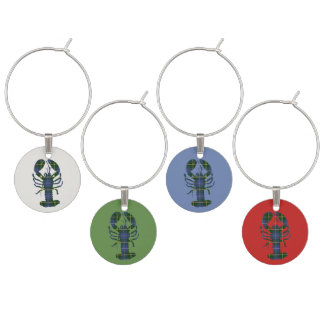 Nova Scotia Tartan Lobster Christmas Wine Charms