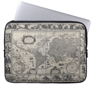 Nova totius terrarum, 1606 Antique World Map Laptop Computer Sleeve