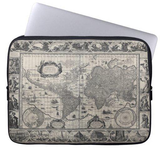 Nova totius terrarum, 1606 Antique World Map Laptop Sleeves