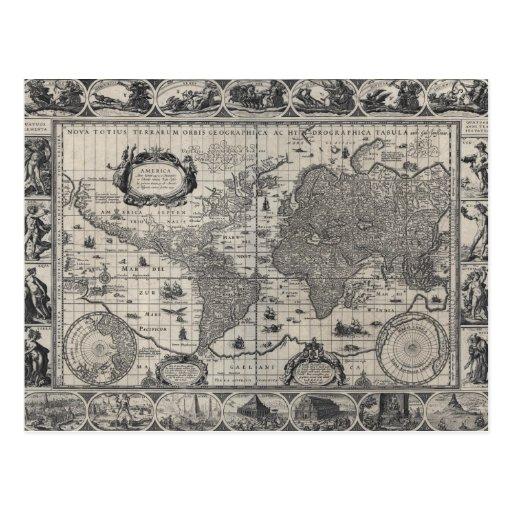 Nova totius terrarum, 1606 Antique World Map Postcards