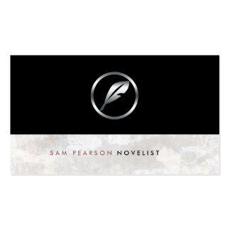 Novelist Bold Silver Quill Icon Elegant Business Card Template