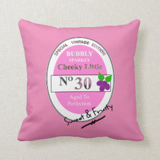 Novelty 30th Milestone Birthday Funny Wine Label Cushion