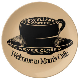 Novelty Coffee Cup Welcome To Moms Cafe Porcelain Plates