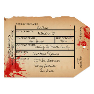 """Novelty Coroners Toe Tag Halloween 5"""" X 7"""" Invitation Card"""