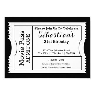 Novelty Party Admission Ticket Black And White Card