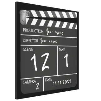 Novelty Personalised Unique Movie Clapperboard Canvas Print
