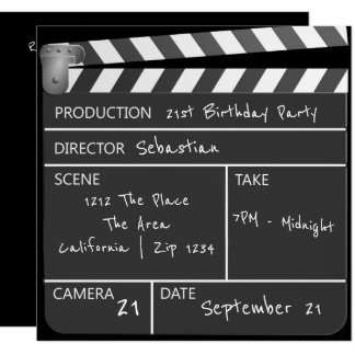Novelty Personalized Custom Movie Clapperboard 13 Cm X 13 Cm Square Invitation Card