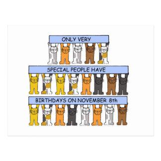 November 8th birthdays celebrated by cats. postcard