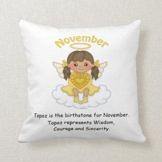 November Birthstone Angel Brunette Cushion